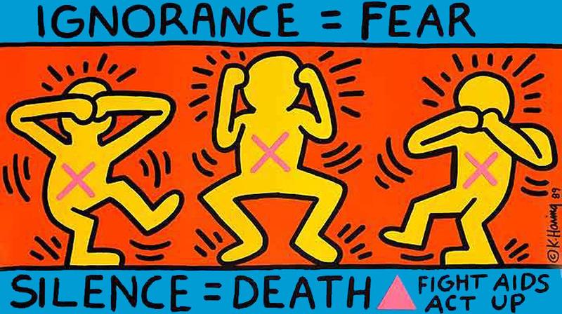 Keith_Haring._Ignorance___Fear__Silence___Death__1989