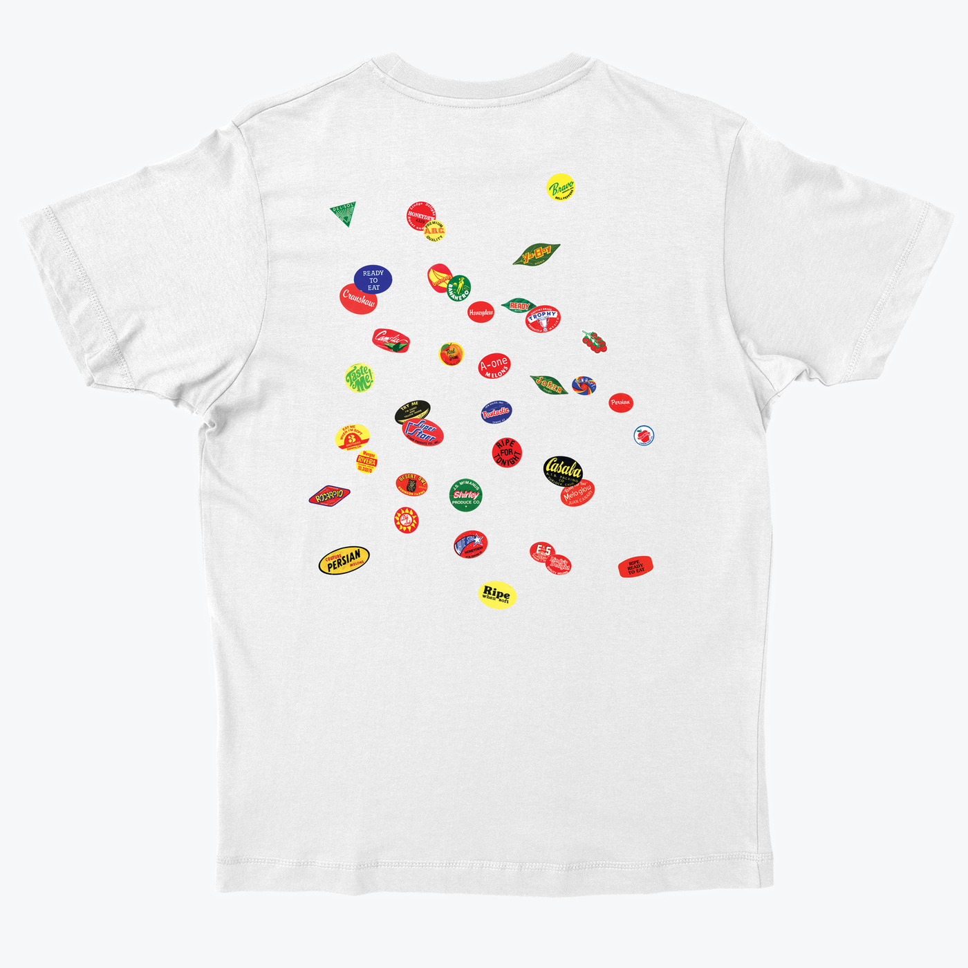 Reverse print on the 'Natural Snack' and 'Original Sticker' T-shirts