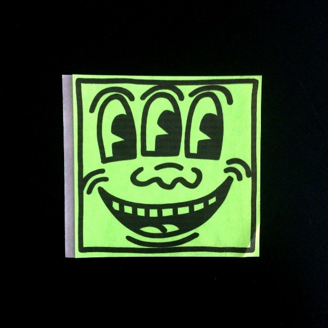 Keith Haring Original 1982 Green Square Face Sticker