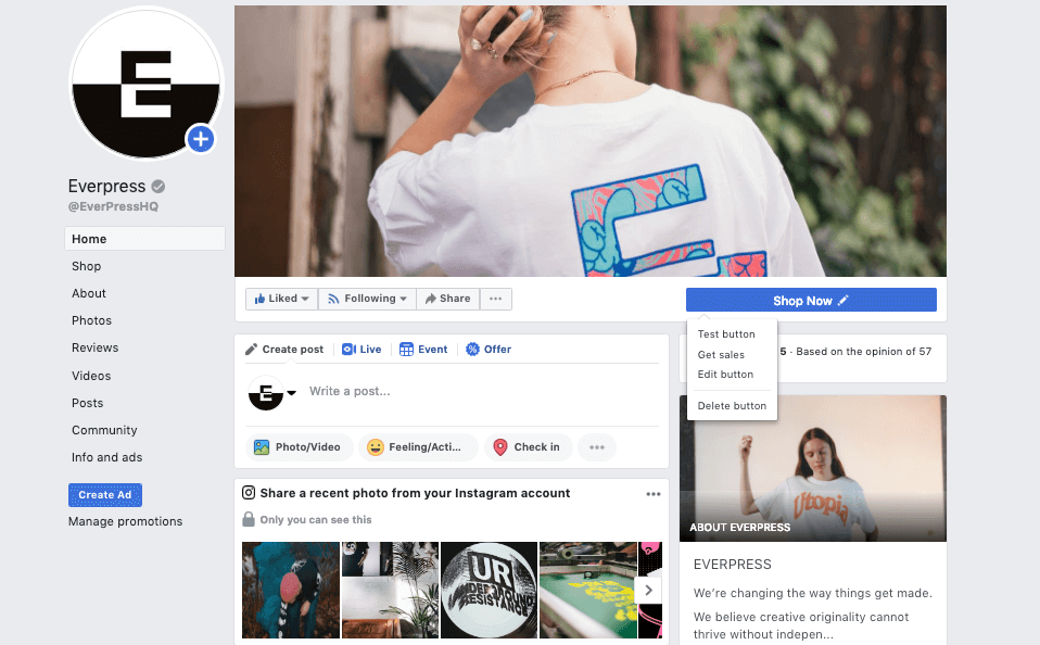 sell t-shirts on facebook shop now everpress