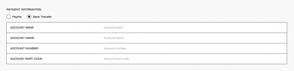 payment methods bank transfer
