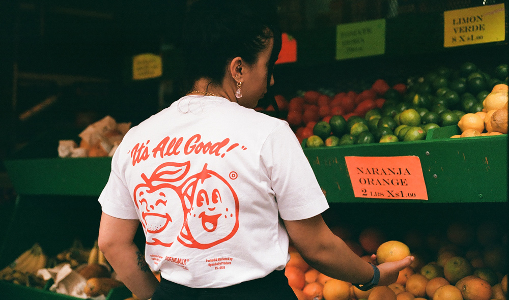 Kelly Angood's Fruit Stickers x Open Daily T-shirt