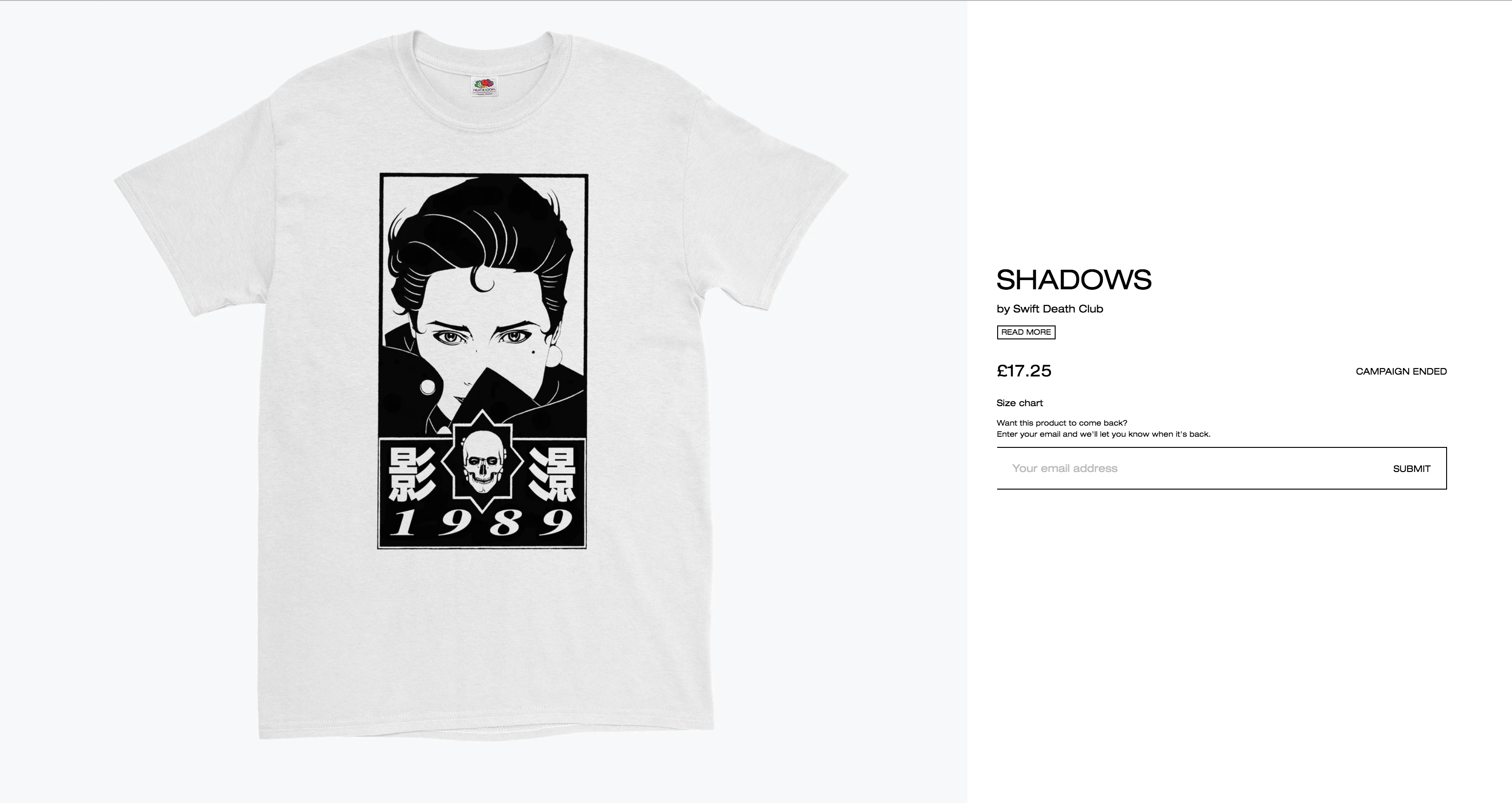 Shane Swift's 'Shadows' tee released in a three day tee drop