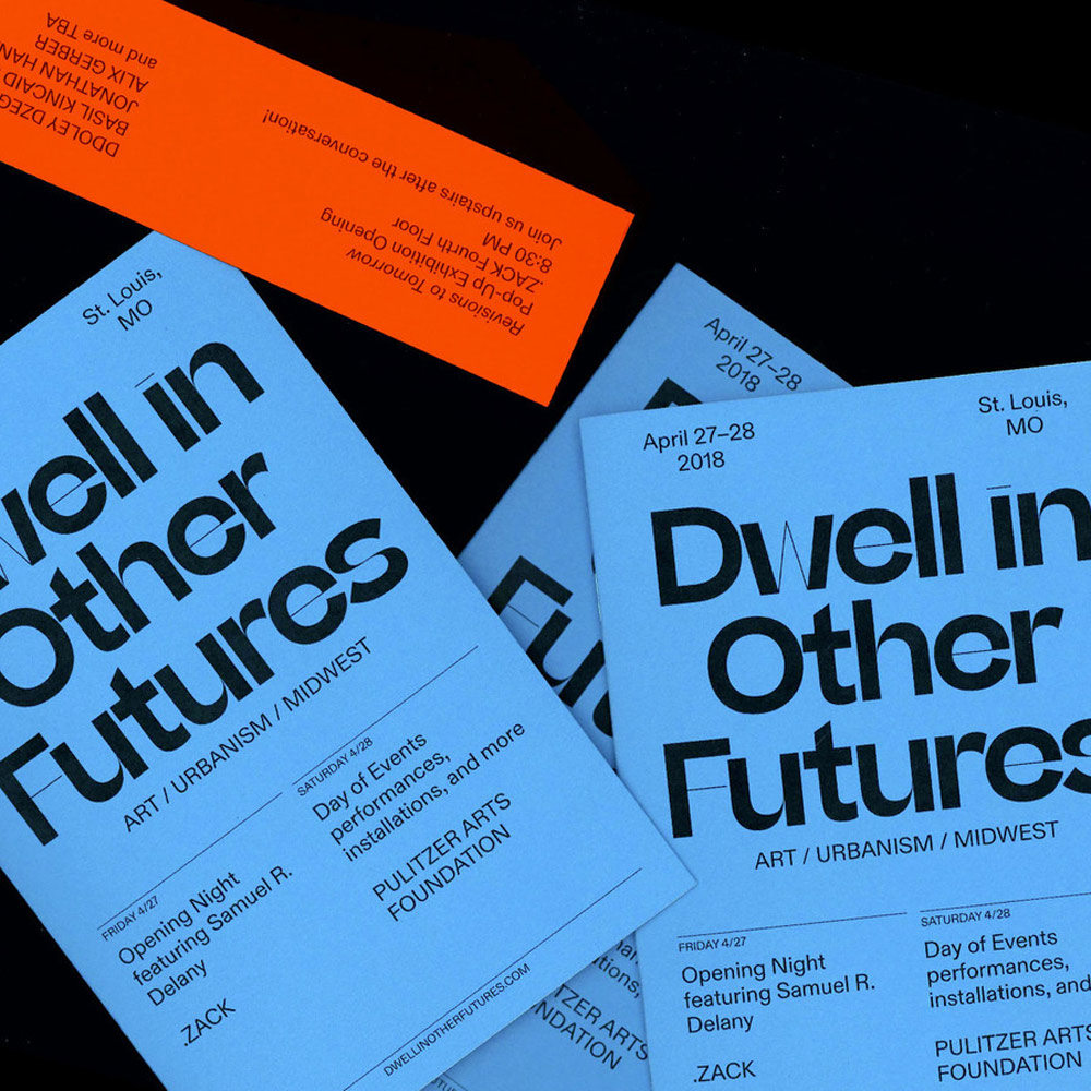 Website and identity design for Dwell in Other Futures by Noah Baker