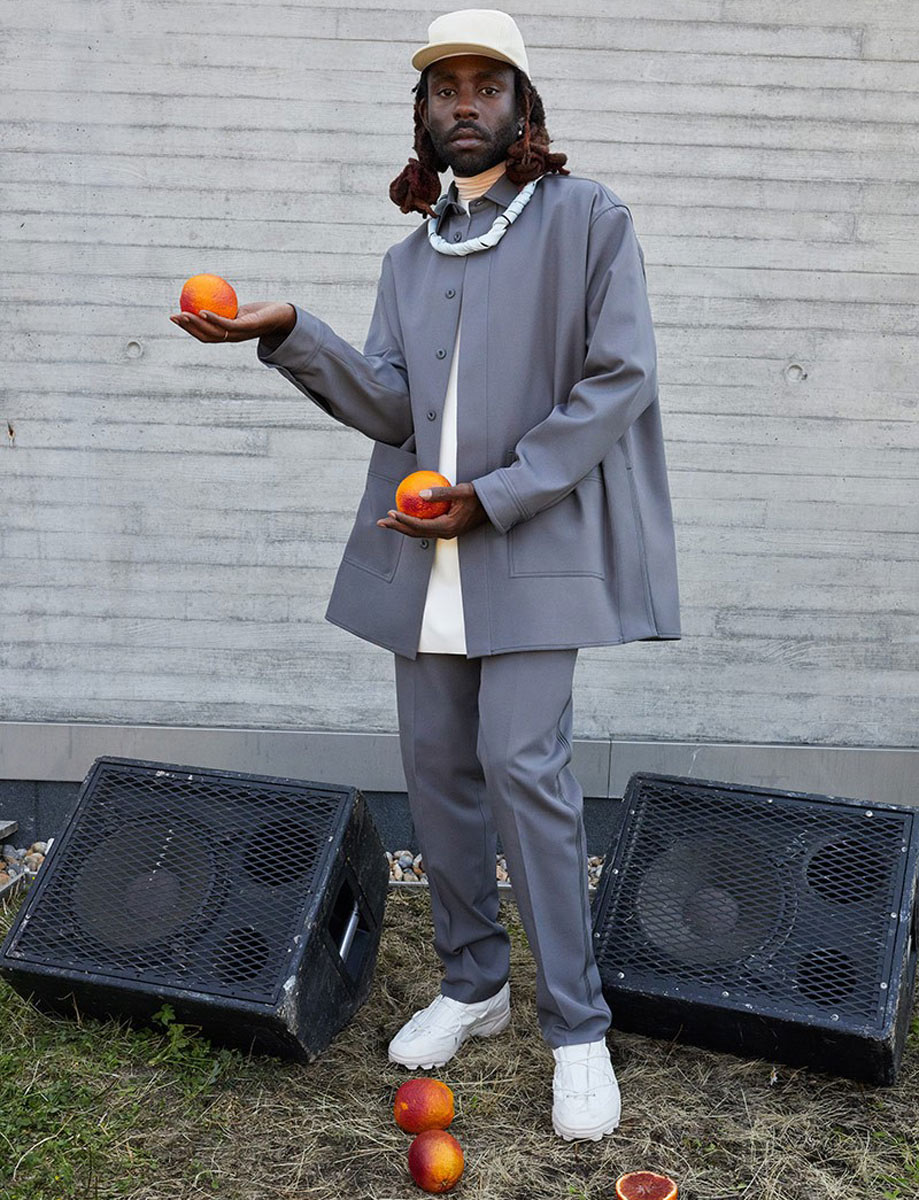 Dev Hynes in Adidas Originals by OAMC photographed by Juergen Teller