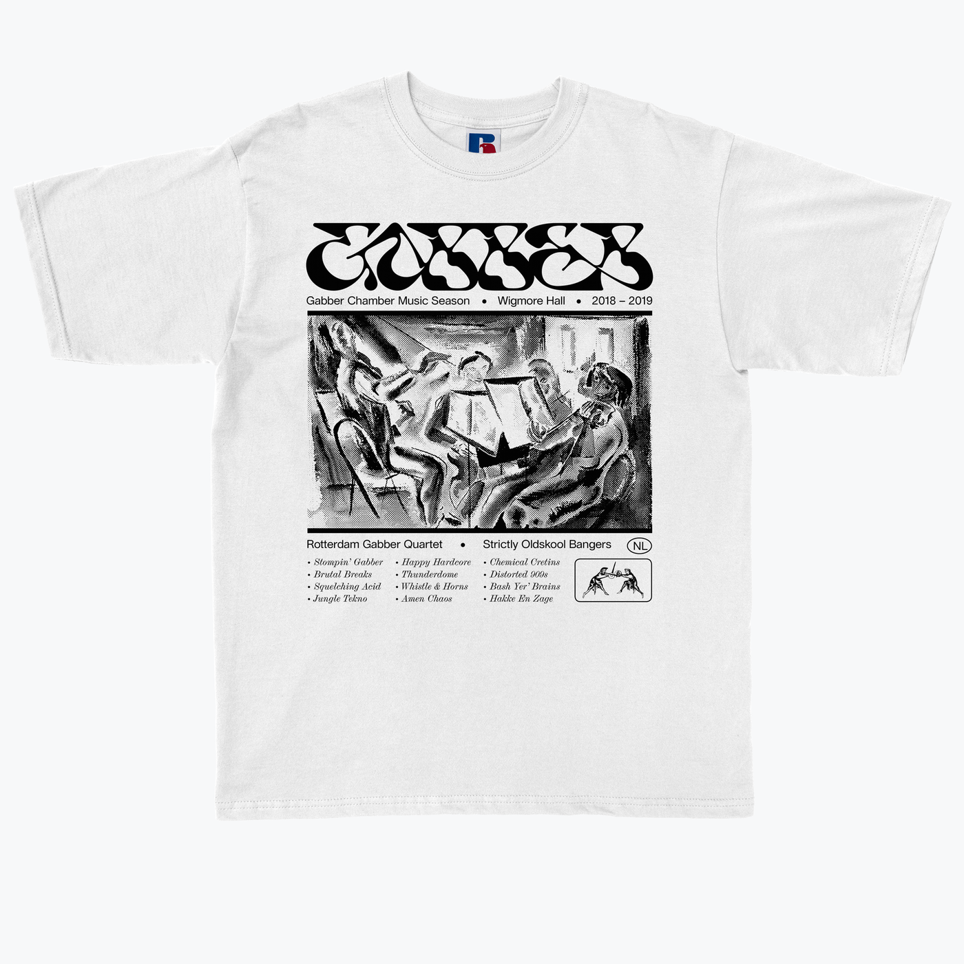 Jacob Wise's 'Gabber Chamber Music' T-shirt design as part of Type In Focus