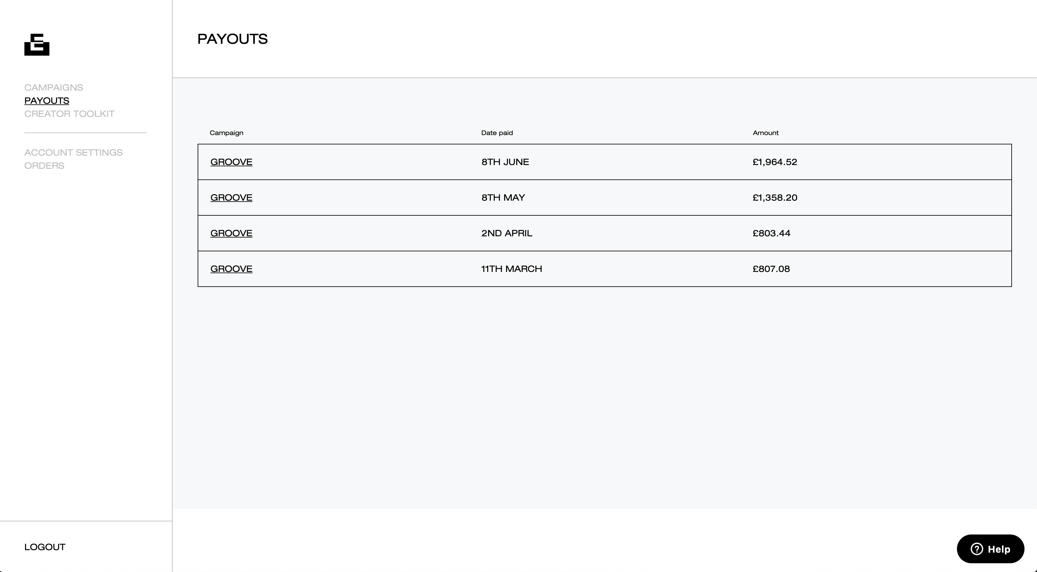 payout list view copy